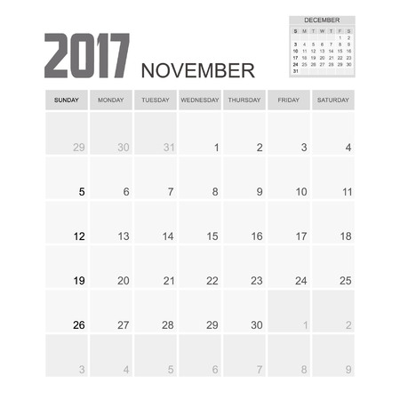 november calendar: 2017 NOVEMBER Calendar Planner Design. Illustration