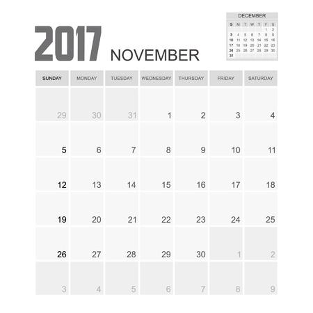 calendario noviembre: El diseño de noviembre 2017 Calendario del planificador. Vectores