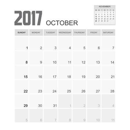 october calendar: Diseño Octubre 2017 Calendario del planificador. Vectores