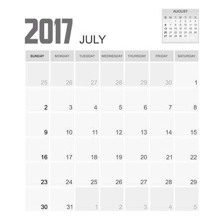 event planner: 2017 JULY Calendar Planner Design. Illustration