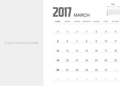 event planner: 2017 MARCH Calendar Planner Design. Illustration