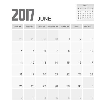 event planner: 2017 JUNE Calendar Planner Design.