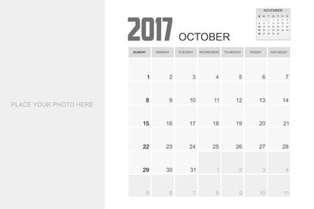 event planner: 2017 OCTOBER Calendar Planner Design. Illustration