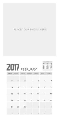 event planner: 2017 FEBRUARY Calendar Planner Design. Illustration