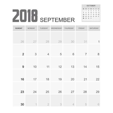 september calendar: 2018 SEPTEMBER Calendar Planner Design.