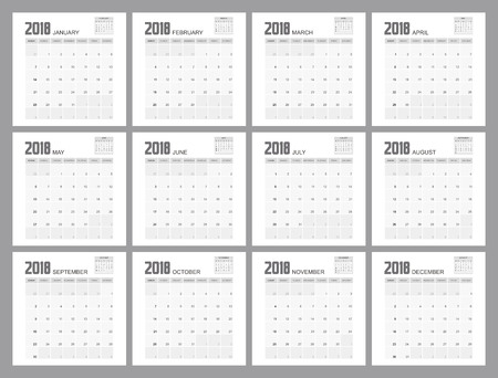 2018 Calendar Planner Design. Illustration