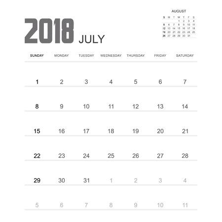 calendario julio: 2018 diseño de julio Calendario del planificador.