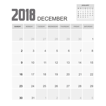 december calendar: 2018 DECEMBER Calendar Planner Design. Illustration