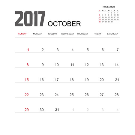 october calendar: 2017 OCTOBER Calendar Planner Design. Vectores