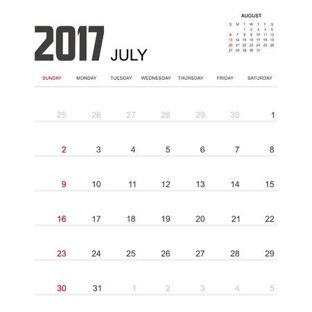 july calendar: 2017 JULY Calendar Planner Design. Illustration