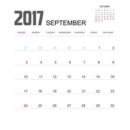 september calendar: 2017 SEPTEMBER Calendar Planner Design.