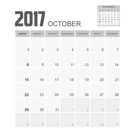 event planner: 2017 OCTOBER Calendar Planner Design. Illustration
