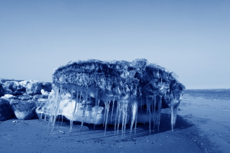 ptosis: frozen sandy beach natural scenery in a geological park, north china Stock Photo