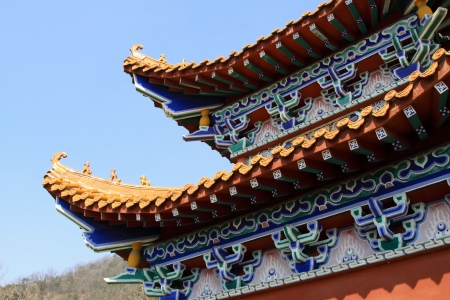 temple architectural style eaves under the blue sky, north china Stock Photo - 18869631