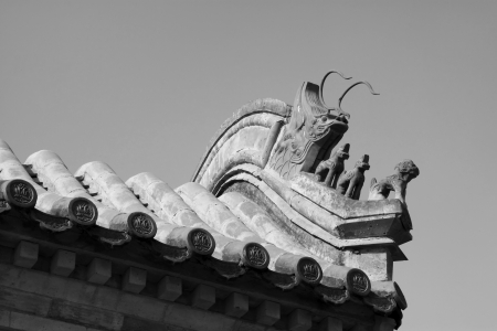 beast sculpture in the eaves in a temple under the blue sky, China Stock Photo - 18869508
