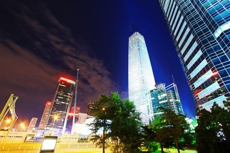 Des scènes de nuit de Pékin quartier financier du centre dans un quartier pittoresque, la Chine Banque d'images - 19009806