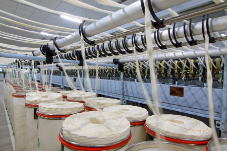 Luannan, November 20, 2012  Machinery and equipment in a spinning production line in the Zeao spinning company, in November 20, 2012, Luannan County, china  This is the largest of a modern spinning company in Hebei province
