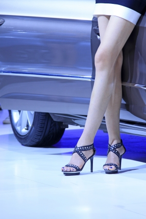 closeup of photo, high heeled shoes of car model