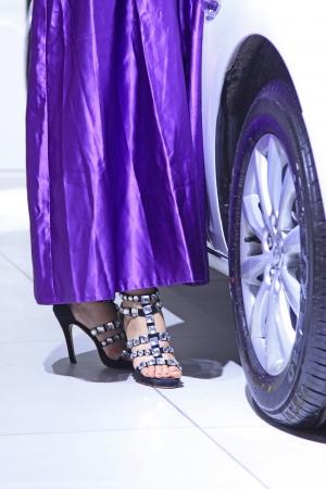 heeled: closeup of photo, high heeled shoes of car model