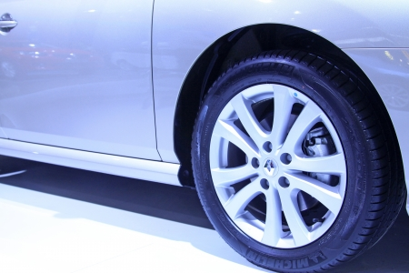 electroplating: TANGSHAN - JUNE 2  Car wheels on display in a car sales shop on June 2, 2013,Tangshan, Hebei Province, China  Editorial