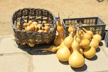 farm implements: piles of gourds on the ground Stock Photo