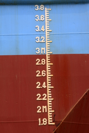 closeup of waterline marked on the ship Stock Photo - 21682027