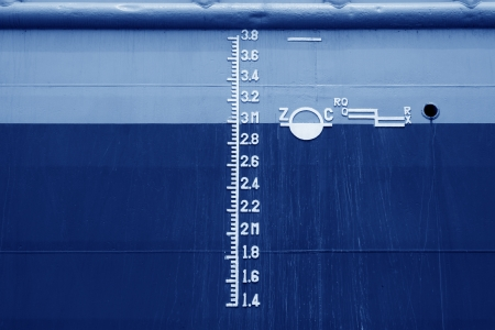 closeup of waterline marked on the ship Stock Photo - 21682034
