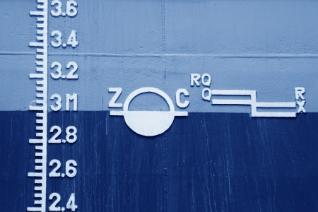closeup of waterline marked on the ship  Stock Photo - 21682036