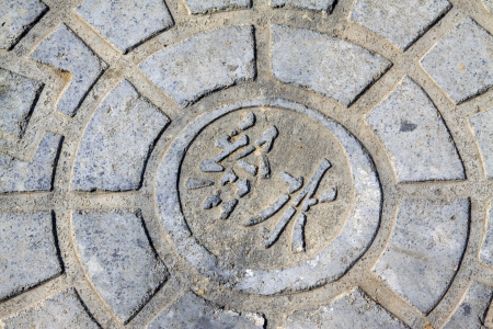 municipal utilities: Urban water supply well lid, closeup of photo