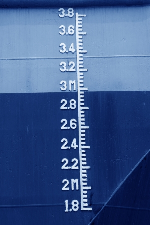 closeup of waterline marked on the ship  Stock Photo