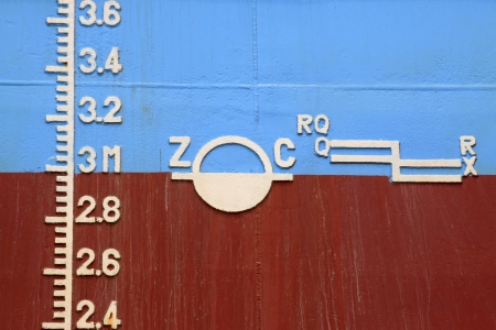 closeup of waterline marked on the ship Stock Photo - 21761454