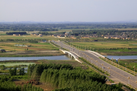 Bridges and fields in the beautiful summer, north china