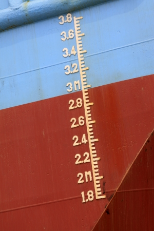 closeup of waterline marked on the ship Stock Photo - 22146592