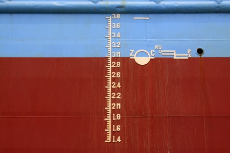 closeup of waterline marked on the ship  Stock Photo - 22063243