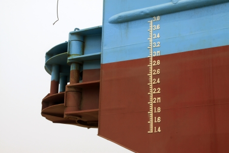 closeup of waterline marked on the ship  Stock Photo - 22146511