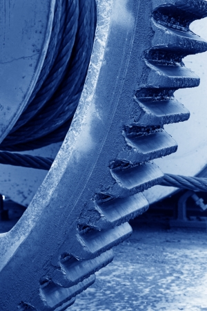 Gear Covered with mud, closeup of photo photo