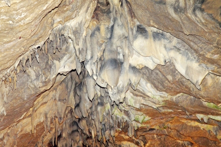 peculiar: stalactites in the water tunnel, peculiar landscape of nature  Stock Photo