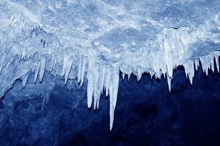 stalactites: stalactites in the water tunnel, peculiar landscape of nature  Stock Photo
