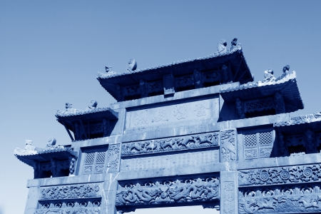 restore ancient ways: Memorial arch of Chinese traditional style architecture  Editorial