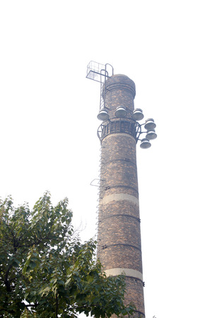 eliminated: big chimney in a factory, closeup of photo