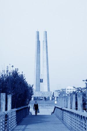 tangshan city: TANGSHAN - OCTOBER 18: The Earthquake monument on october 18, 2013, tangshan city, hebei province, China.