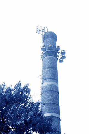 restore ancient ways: big chimney in a factory, closeup of photo