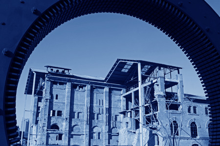 generalized: The gears and abandoned factories in the Qixin cement plant, tangshan city, hebei province, China.