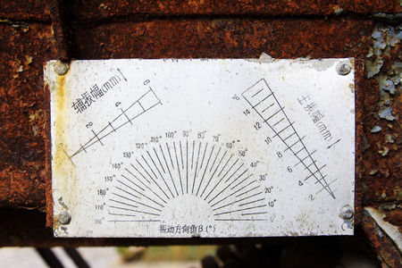 oxidation: abandoned amplitude directional signs, closeup of photo Stock Photo