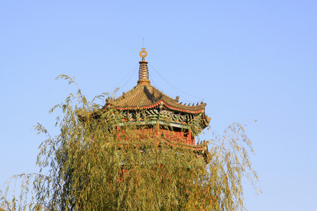 restore ancient ways: LUAN COUNTY - NOVEMBER 10: The Purple Metal Tower building landscape, November 10, 2013, Luan county, hebei province, China.  Editorial