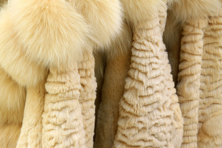 Well-organized fur clothing in a shop, north china Stock Photo - 26298759