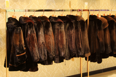 The Fine fur clothing on hangers in a store