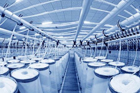 standardization: LUANNAN COUNTY - DECEMBER 20: The combed cotton production line in the ZeAo spinning LTD., on December 20, 2013, Luannan county, hebei province, China.   Editorial