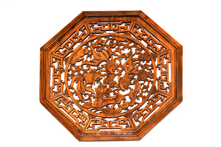 restore ancient ways: Chinese traditional woodcarving handicraft on the white background