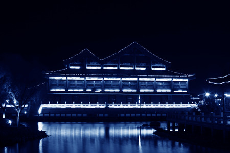 hebei: FENGNAN COUNTY - NOVEMBER 16: The HuiFeng Lake night scenery on november 16, 2013, FengNan county, hebei province, china.   Editorial